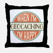 happy geocacher Throw Pillow