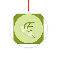 Leaves Monogram E Ornament (Round)