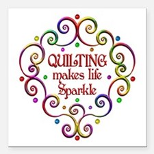 "Quilting Sparkles Square Car Magnet 3"" x 3"""
