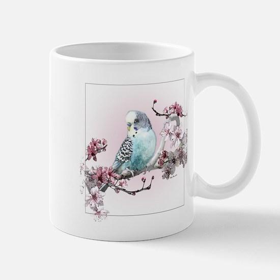 Parakeet With Cherry Blossoms Mug Mugs