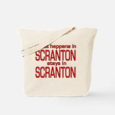 What happens in SCRANTON Tote Bag