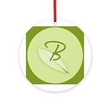 Leaves Monogram B Ornament (Round)