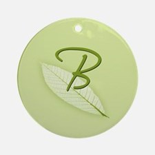 Leaves Monogram B Ornament (Round)