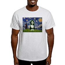 Starry Night & Beardie #9 Ash Grey T-Shirt