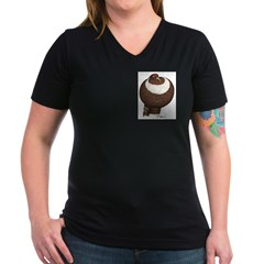 Pouter Pigeon Women's V-Neck Dark T-Shirt
