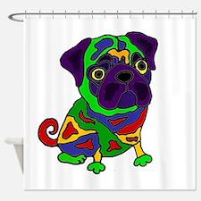 Pug Dog Pop Art Shower Curtain