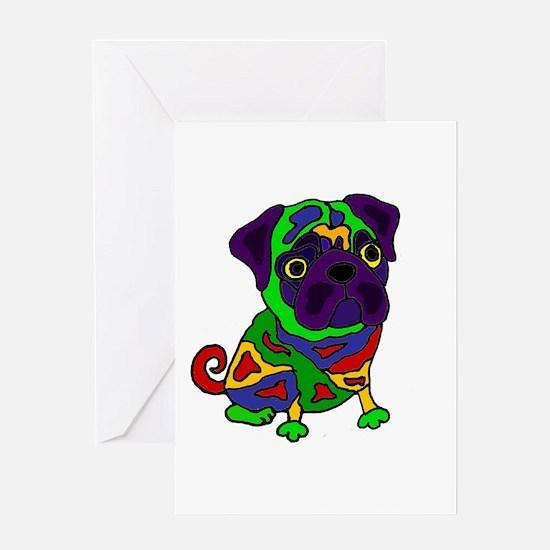 Pug Dog Pop Art Greeting Cards