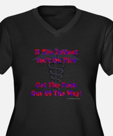 Patient Isnt On Fire Gifts Women's Plus Size V-Nec
