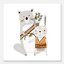 """Tribal Bear and Bunny Square Car Magnet 3"""" x 3"""""""