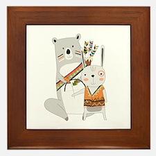 Tribal Bear and Bunny Framed Tile