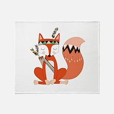Tribal Red Fox Throw Blanket