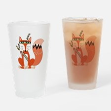 Tribal Red Fox Drinking Glass