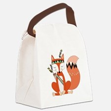 Tribal Red Fox Canvas Lunch Bag