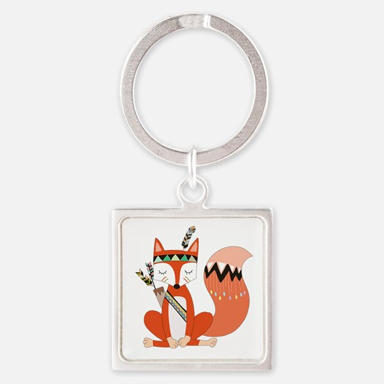 Tribal Red Fox Square Keychain