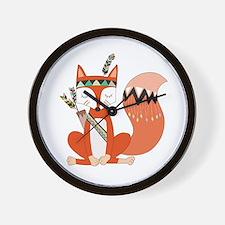Tribal Red Fox Wall Clock