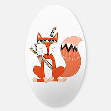 Tribal Red Fox Sticker (oval)