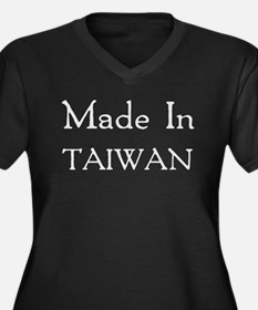 Made In Taiwan Women's Plus Size V-Neck Dark T-Shi