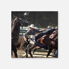 Bulldogging Steer Wrestling Rodeo Action Sticker