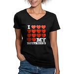 I Love My Boyfriend Women's V-Neck Dark T-Shirt