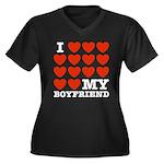 I Love My Boyfriend Women's Plus Size V-Neck Dark