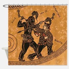 Ancient Greek Pottery painting gang Shower Curtain