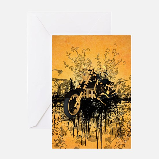 Steam motorcycle with grunge Greeting Cards