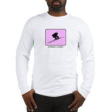 Downhill Skiing (pink) Long Sleeve T-Shirt