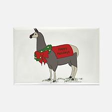 Holiday Llama Rectangle Magnet