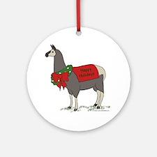 Holiday Llama Ornament (Round)