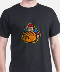 Chimpanzee Baseball Catcher Glove Retro T-Shirt