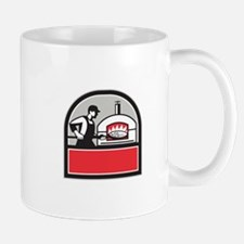 Pizza Cook Peel Wood Fired Oven Crest Retro Mugs