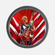 fantasy art skull musician with electri Wall Clock