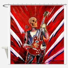 fantasy art skull musician with ele Shower Curtain