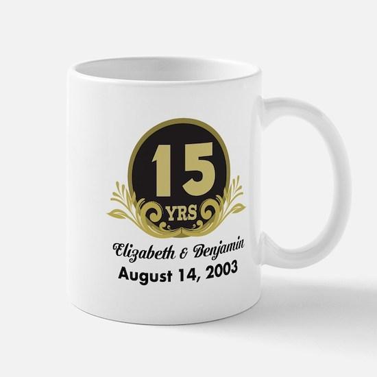 15th Anniversary Personalized Gift Idea Mugs
