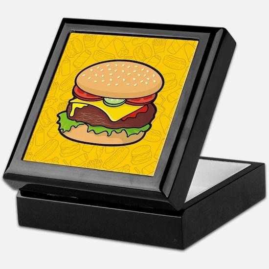 Cheeseburger background Keepsake Box
