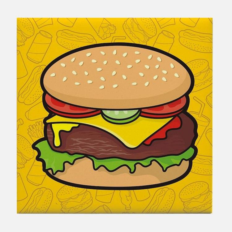 Cheeseburger background Tile Coaster