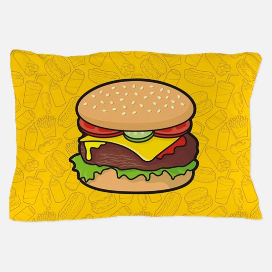 Cheeseburger background Pillow Case