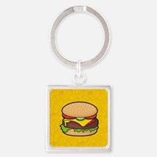 Cheeseburger background Keychains
