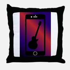 Mobile Phone With Guitar Throw Pillow