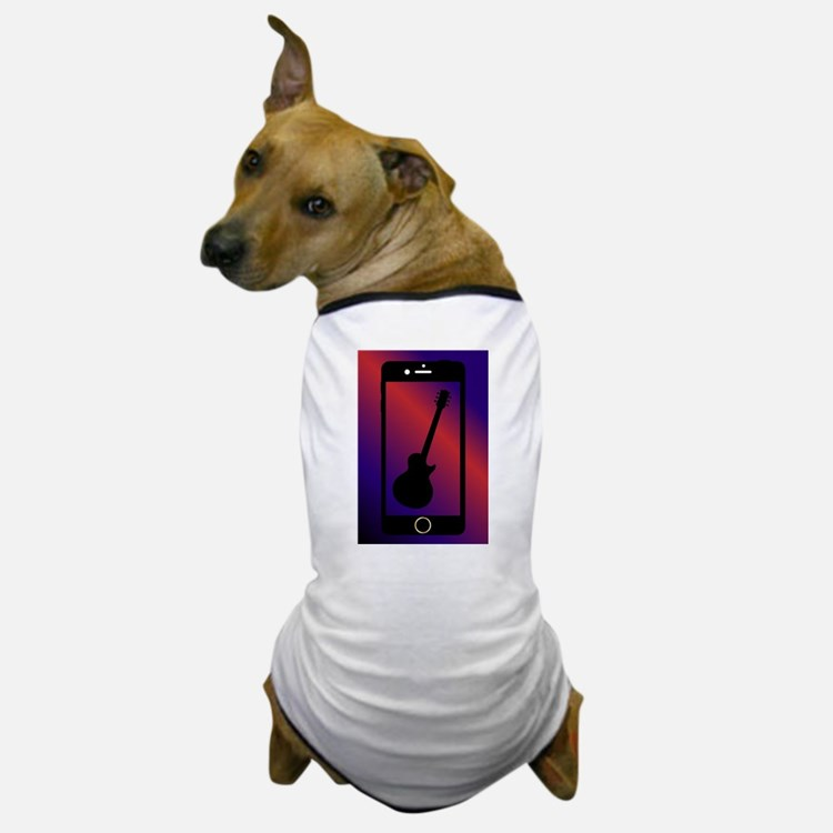 Mobile Phone With Guitar Dog T-Shirt