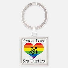 Cute Turtle love Square Keychain
