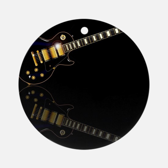 Black Beauty Electric Guitar Round Ornament