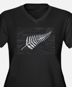 Silk Flag Of New Zealand Silver Plus Size T-Shirt
