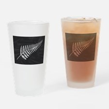 Silk Flag Of New Zealand Silver Fer Drinking Glass