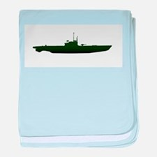 Submarine Silhouette On White baby blanket
