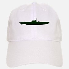 Submarine Silhouette On White Baseball Baseball Cap