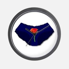 Knickers With Red Rose Wall Clock