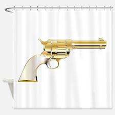 A Golden Revolver Shower Curtain