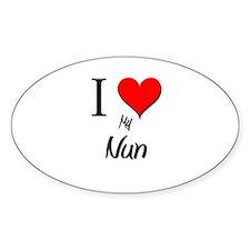I Love My Nun Oval Decal