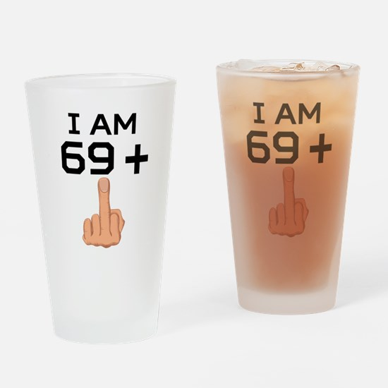 69 Plus Middle Finger 70th Birthday Drinking Glass